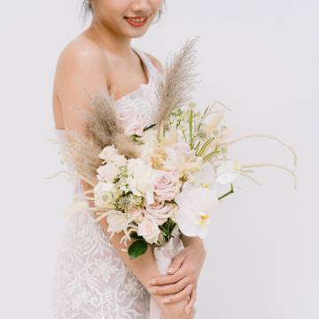 Phalaenopsis and Pampas Bridal Bouquet