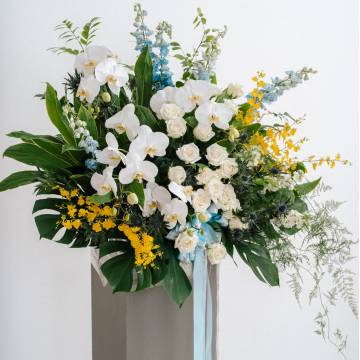Lush Delphinium and Orchid Floral Stand