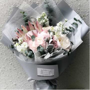 Blush Italian Ranunculus and Peony Bouquet