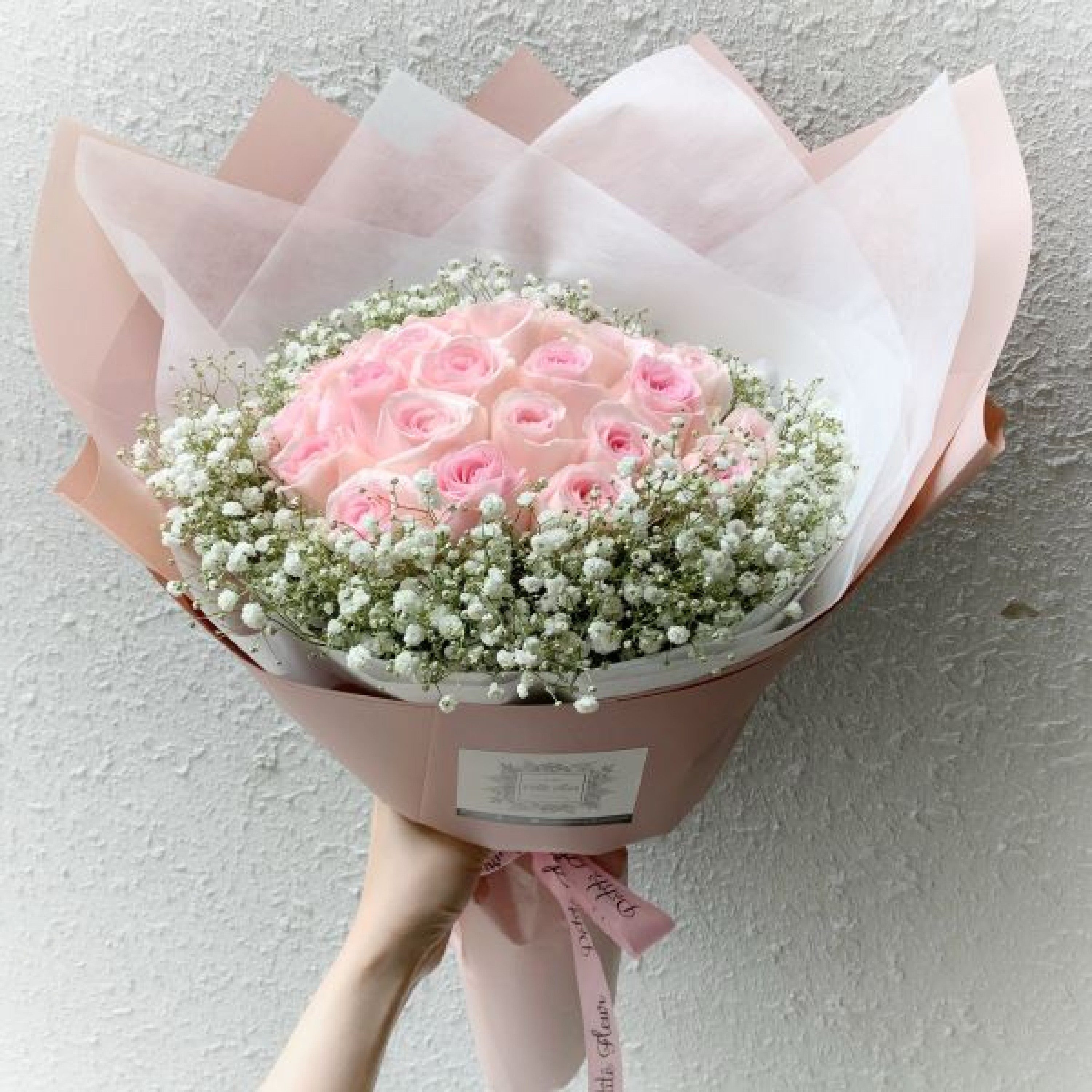 24 Premium Roses with Gypsophila