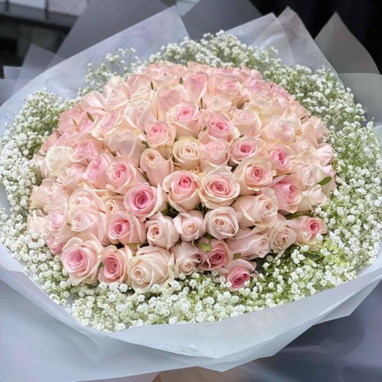 99 Premium Roses  with Gypsophila