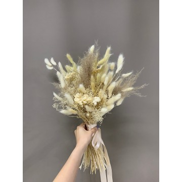 Almond Bunny Tail And Pampas Bridal Bouquet