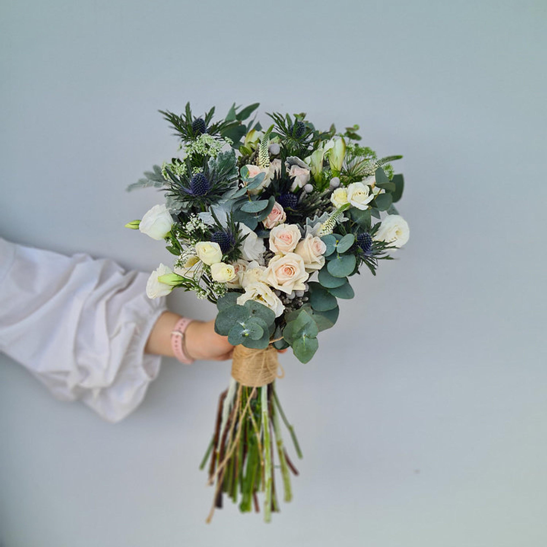 Blue Thistle Bridal Bouquet