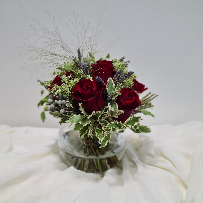 Kenyan Rose and Euphorbia Marginata Round Arrangement