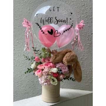 Hot Air Balloon - Jellycat Bunny and Fresh Flowers