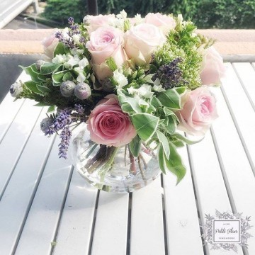 Kenyan Rose and Euphorbia Marginata Round Arrangement
