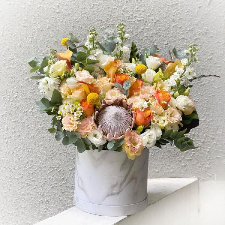 King Protea and Orange Calla Lily Floral Box