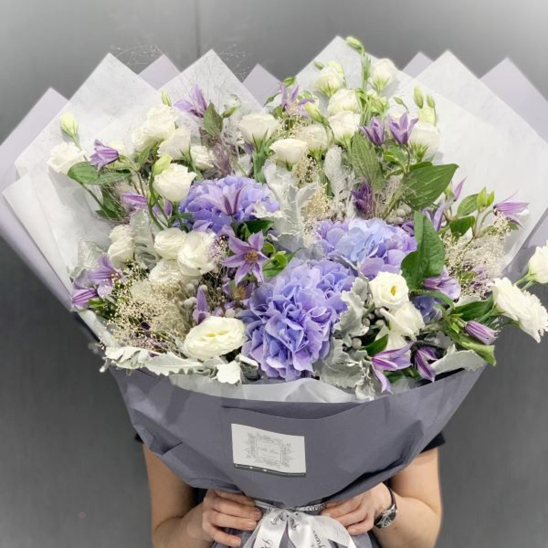 Lilac Hydrangea and Agaphantus Bouquet