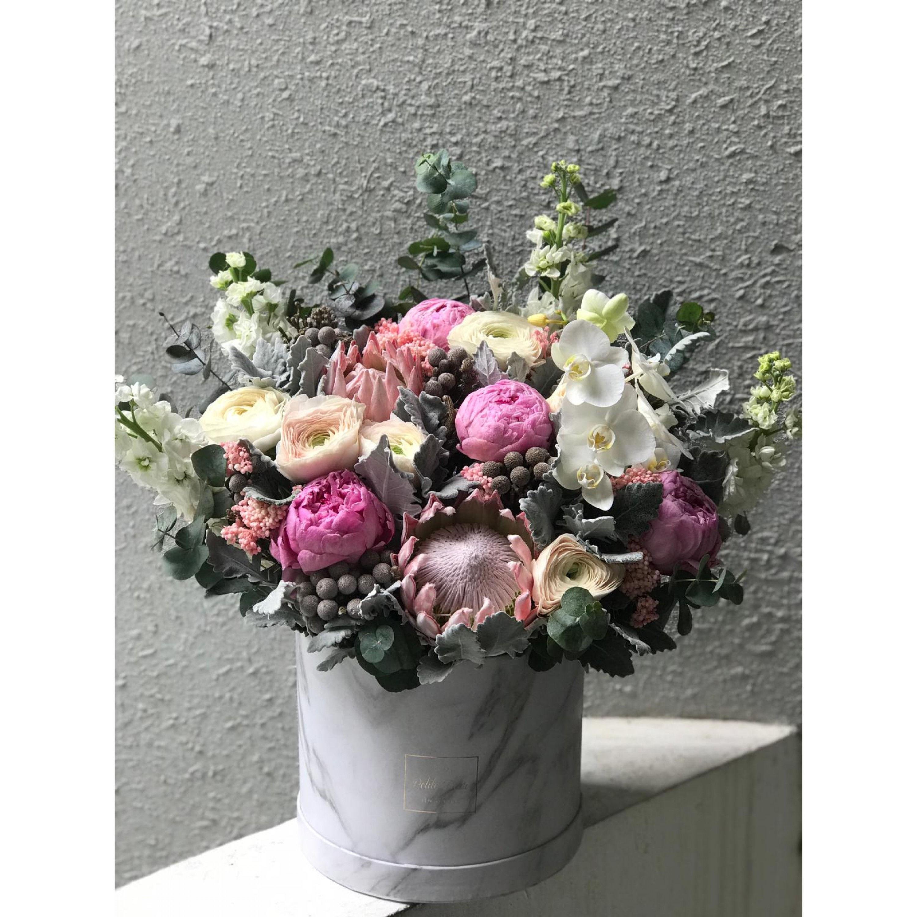 Blush Italian Ranunculus, Queen Protea and Peony in a Box