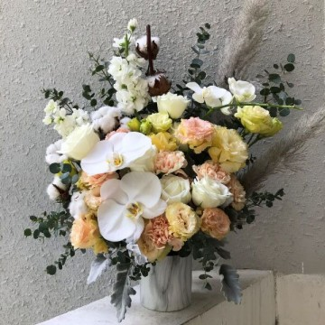 Phalaepnosis and Pampas Vase Arrangement
