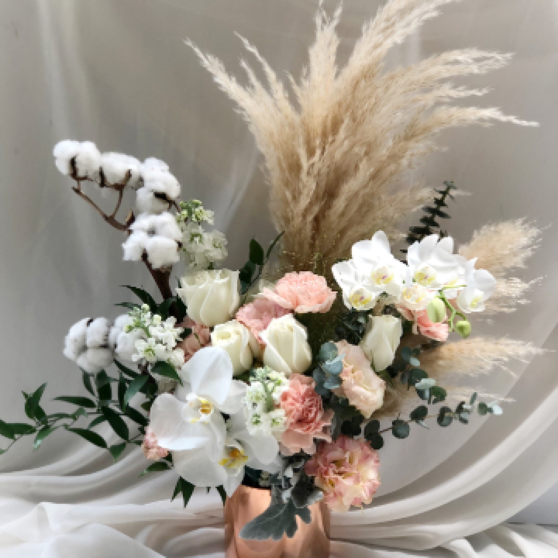 Phalaepnosis and Pampas Vase Arrangement