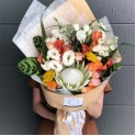 King Protea and Orange Calla Lily Bouquet