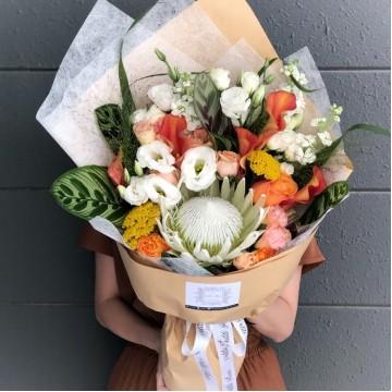 King Protea and Orange Calla Lily Bouquet