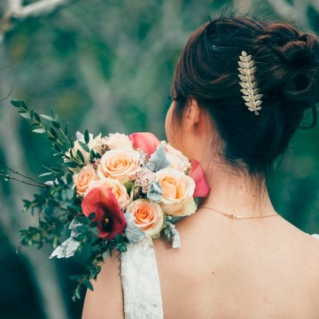 Rustic Champagne Rose and Calla Lily Bridal Bouquet