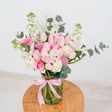Iris and Tulip Vase Arrangement