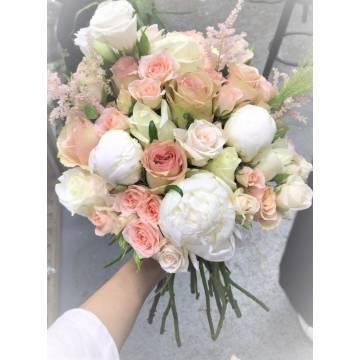 White Peony & Pastel Roses Bridal Bouquet
