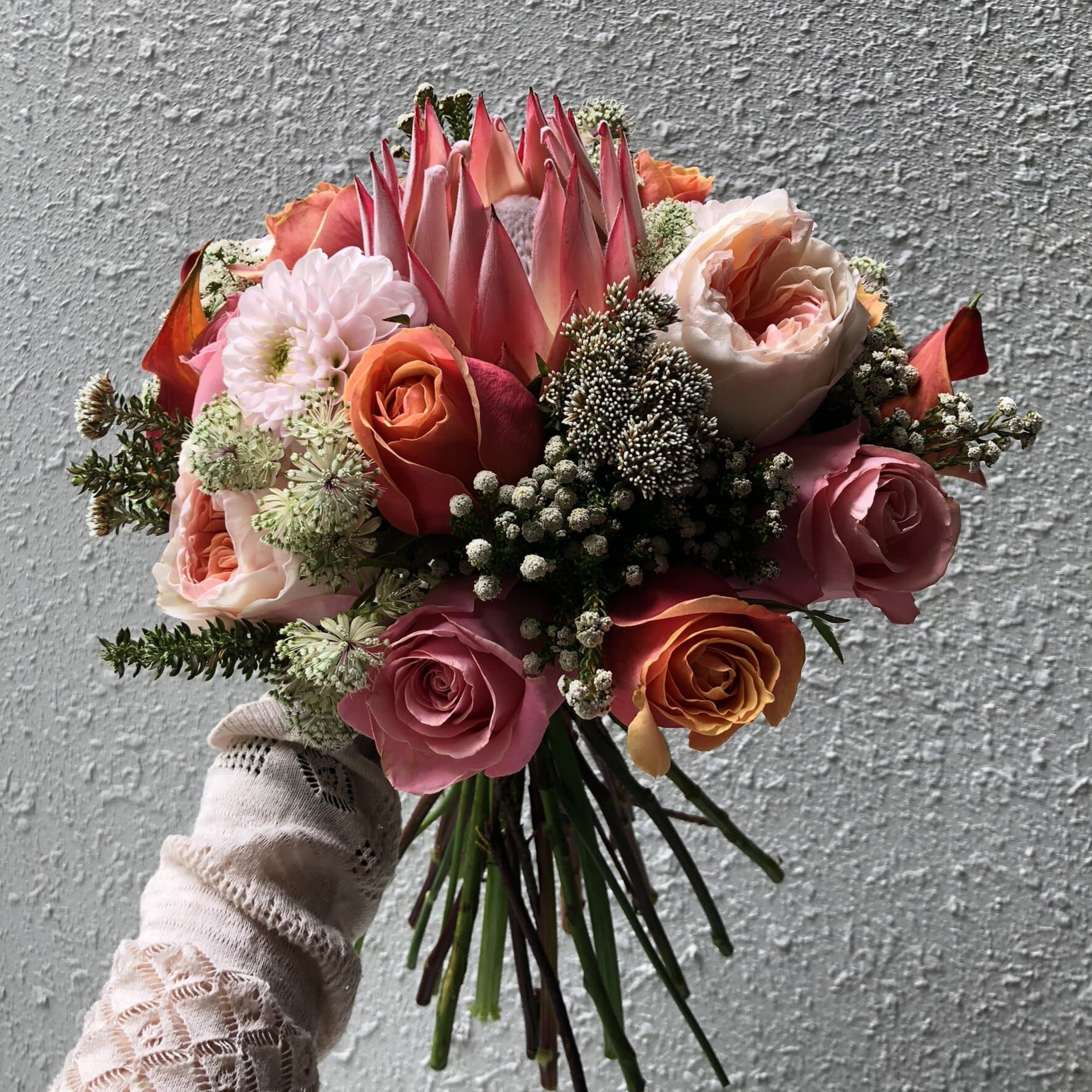 Red Protea and Juliet Bridal Bouquet