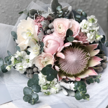 Blush Italian Ranunculus, Queen Protea and Peony Bouquet