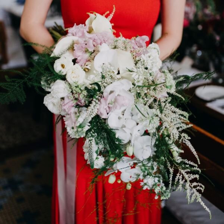 Feminine Calla Lily Cascading Bridal Bouquet