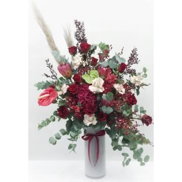 Rustic Red Protea & Kenyan Roses Vase Arrangement